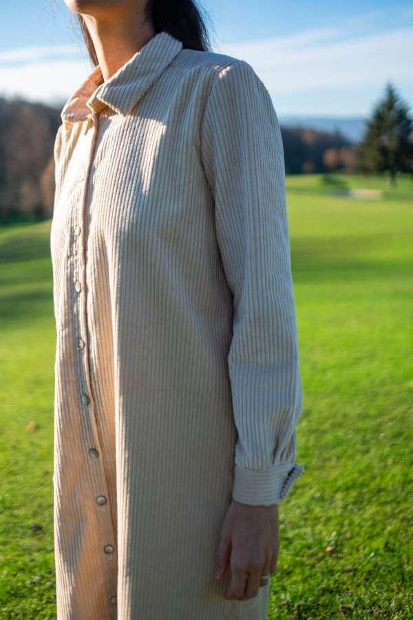 Robe-chemise-velvette-pretaporter-femme-vetement-createur-face