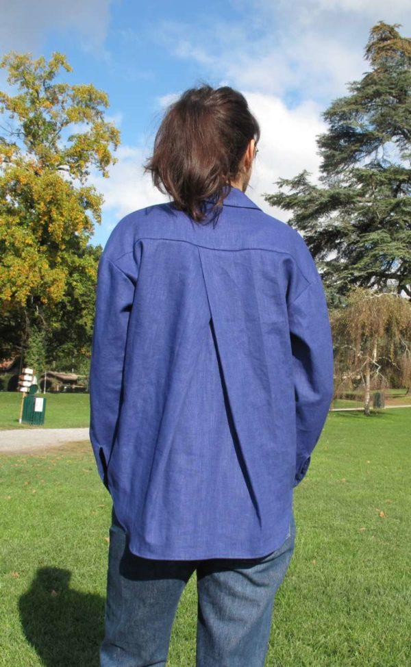 vêtement femme chemise couture bleu lin createur annecy prêt à porter