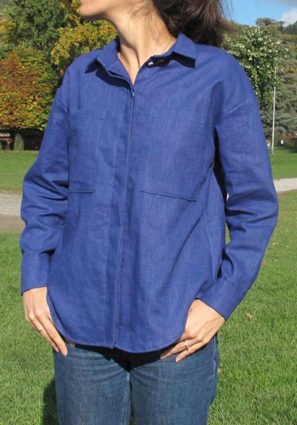 vêtement femme couture chemise lin bleu annecy createur pret à porter