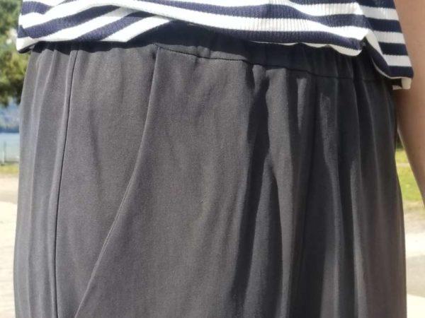 vêtement femme pantalon couture taille elastique createur annecy poche italienne tencel noir