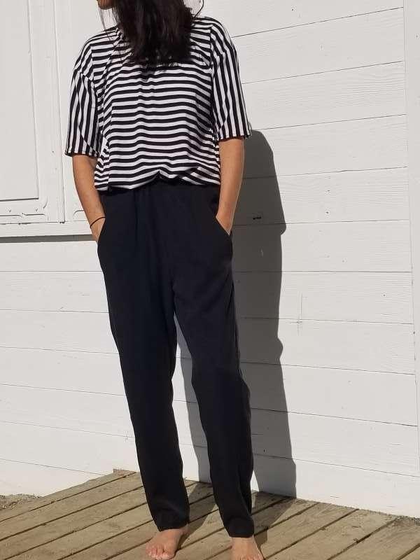 vêtement femme pantalon couture tencel noir createur annecy