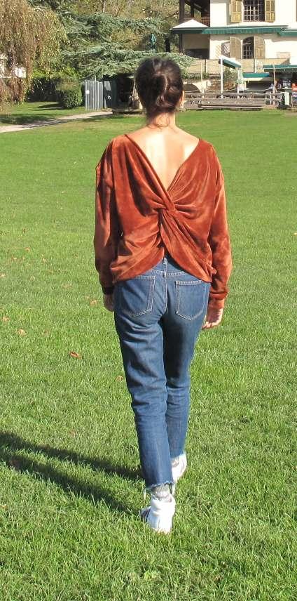 vêtement femme pull couture créateur annecy velours dos