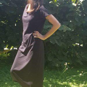 vêtement femme robe nicole couture jersey noir créateur annecy pret à poreter profil