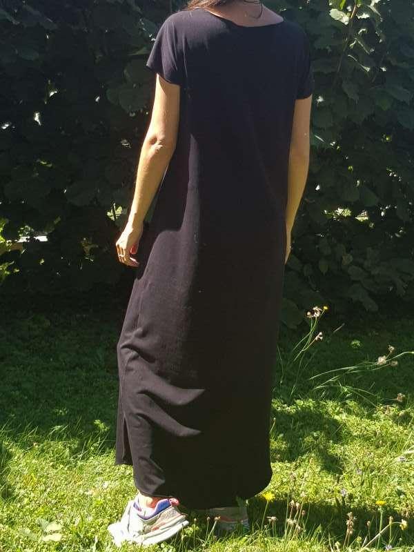 vetement femme robe nicole couture jersey noir créateur annecy dos